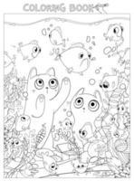 Two cats look at aquarium fish. Coloring book vector