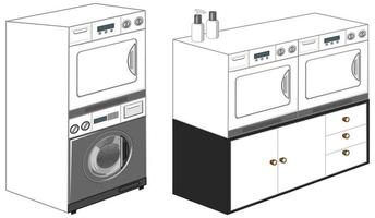 Washing machines with laundry machine isolated on white background