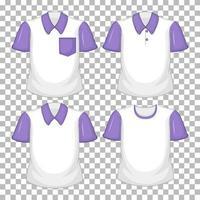 Conjunto de diferentes camisetas con mangas moradas aisladas sobre fondo transparente