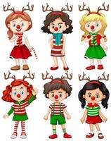 conjunto de diferentes niños con diadema de reno y traje de navidad de nariz roja vector