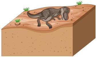 capas de suelo con dinosaurio en la parte superior vector