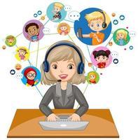 Vista frontal del profesor usando la computadora portátil para comunicarse por videoconferencia con los estudiantes sobre fondo blanco. vector