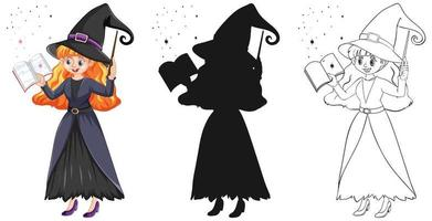 Young beautiful witch holding magic wand and book in color and outline and silhouette isolated on white background vector