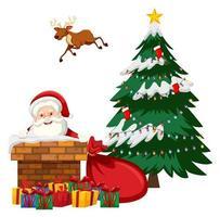 Santa Claus putting himself in chimney vector