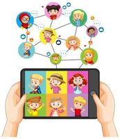 Hands holding smartphone with different kid on smartphone screen on white background