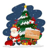 Santa Claus with christmas tree and snowman at night vector