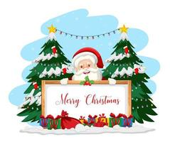 Santa Claus with Merry Christmas sign