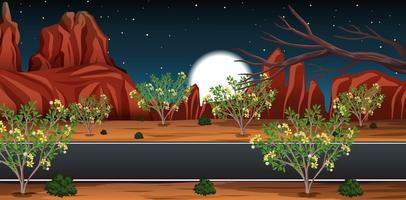 Wild desert with long road landscape at night scene