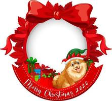 Red ribbon frame with Merry Christmas 2020 font logo with chihuahua dog cartoon character