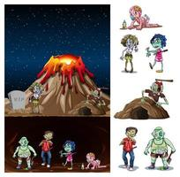 Volcano eruption in nature scene at night with zombies