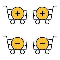 conjunto de cestas de contorno con más y menos