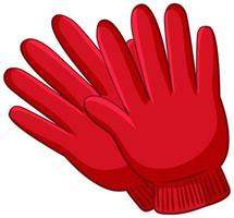 Red gloves in cartoon style isolated on white background vector