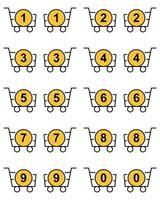 juego de cestas de contorno con contador de compras