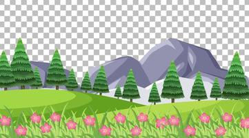 Blank nature park scene with pink flowers on transparent background