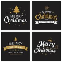 Merry christmas and happy new year card set