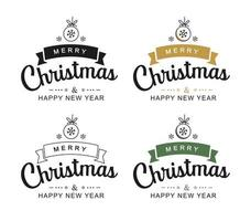 Merry christmas and happy new year typography labels