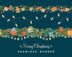 Christmas seamless borders vector