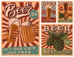 un conjunto de carteles de cerveza vintage