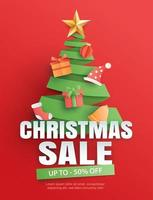 Christmas sale with tree symbol on red background vector