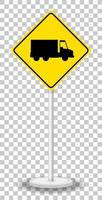 Yellow truck sign isolated on transparent background