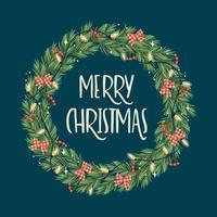feliz navidad corona vector