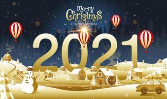 feliz navidad y próspero año nuevo 2021 vector