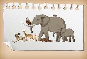Group of wild african animal on paper