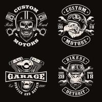 emblemas de bicicletas vintage en blanco y negro sobre fondo oscuro vector