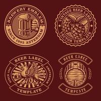 paquete de emblemas de cerveza vintage vector