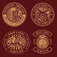 Vintage beer emblems bundle vector