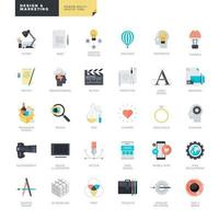 Set of flat design icons for graphic and web design vector
