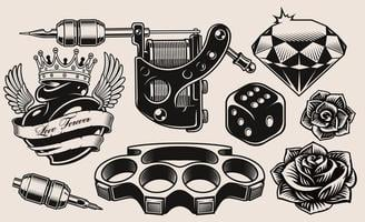 A set of black and white tattoo theme vector