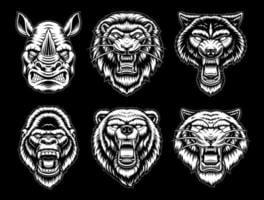 A set of black and white animals vector