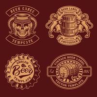 A set of black and white vintage beer badges vector