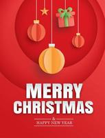 Merry christmas and happy new year red greeting card vector