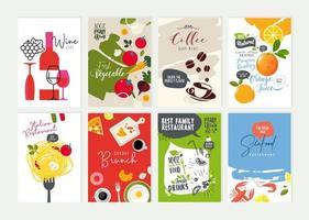 Set of restaurant flyer design templates vector