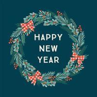 Happy New Year Wreath vector