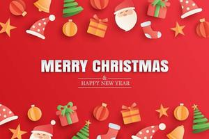 Merry christmas and happy new year red greeting card