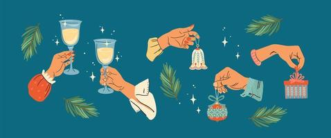 Christmas and Happy New Year hands vector