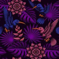 un patrón tropical sin costuras con hermosas flores exóticas vector