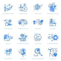 Set of flat line icons of ecology and green technology vector