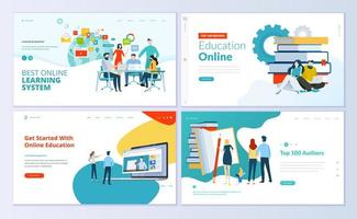 Set of web page design templates for e-learning vector