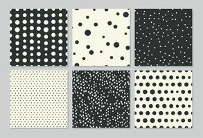 Abstract seamless patterns with drawing polka dots vector