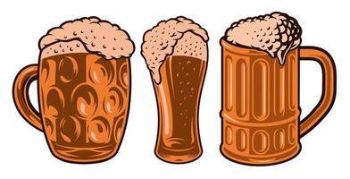 diferentes vasos de cerveza vector