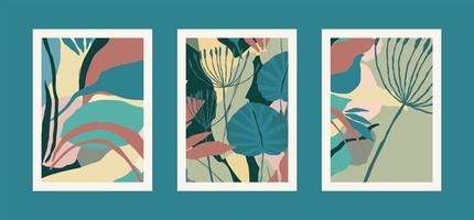 Collection of art prints with abstract leaves