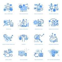 Set of flat line icons of digital marketing and business
