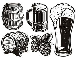 ilustraciones en blanco y negro para el tema de la cerveza. vector