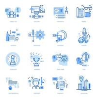 Set of flat line business icons