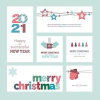 Set of Christmas and New Year 2021 greeting cards