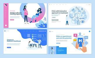 Plantillas de diseño de páginas web de medicina y salud. vector